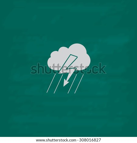 Cloud thunderstorm lightning rain. Icon. Imitation draw with white chalk on green chalkboard. Flat Pictogram and School board background. Vector illustration symbol - stock vector