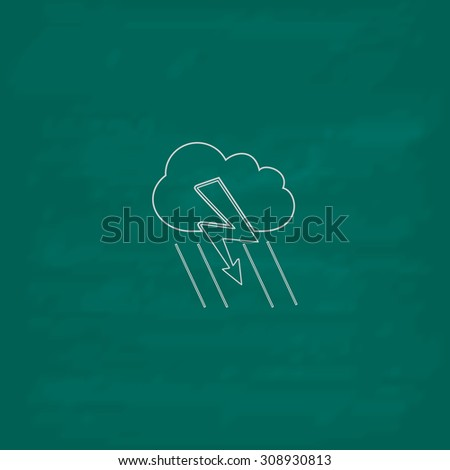 Cloud thunderstorm lightning rain. Outline vector icon. Imitation draw with white chalk on green chalkboard. Flat Pictogram and School board background. Illustration symbol - stock vector