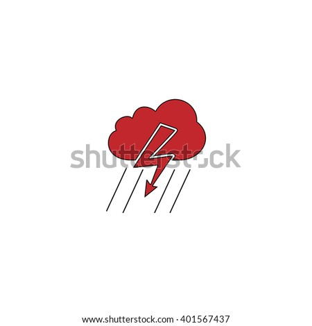 Cloud thunderstorm lightning rain. Red flat simple modern illustration icon with stroke. Collection concept vector pictogram for infographic project and logo - stock vector
