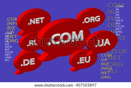 Cloud top-level domain names. Unique DNS names. Red objects on an purple background. Illustration. Vector - stock vector