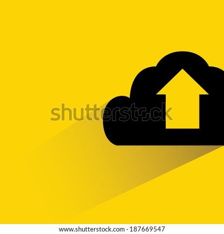 cloud upload on yellow background, shadow and flat style - stock vector