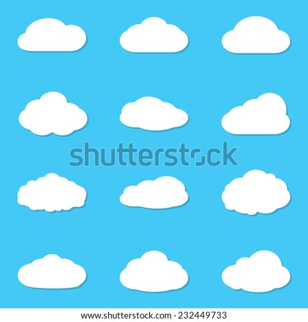 Cloud vectors icon set. White clouds collection isolated on blue sky background. Vector illustration.  - stock vector