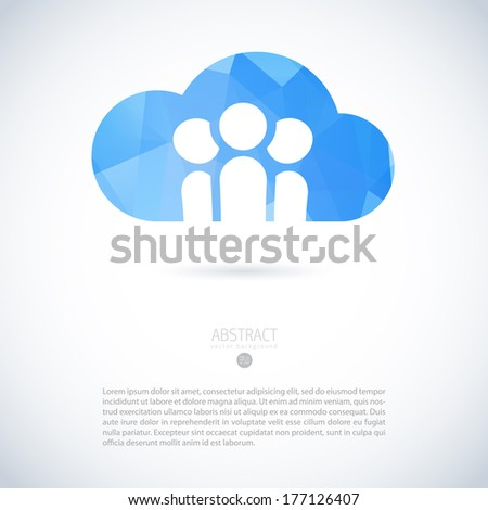Cloud virtual storage emblem with group of people and modern triangle pattern - stock vector