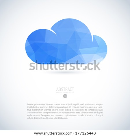 Cloud virtual storage emblem with modern triangle pattern - stock vector