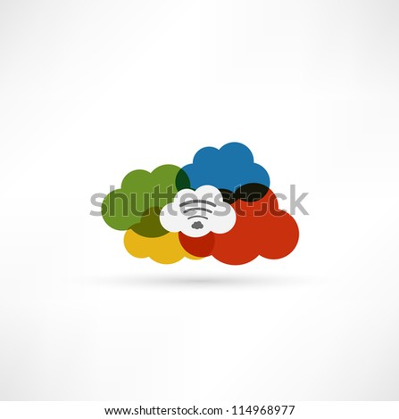 Cloud wi-fi icon - stock vector