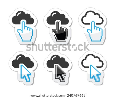 Cloud with cursor hand and arrow icons set - stock vector