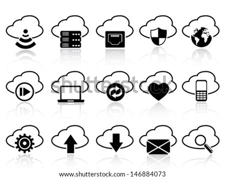 cloud with icons set - stock vector
