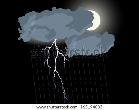Clouds and lightning on the dark sky - stock vector