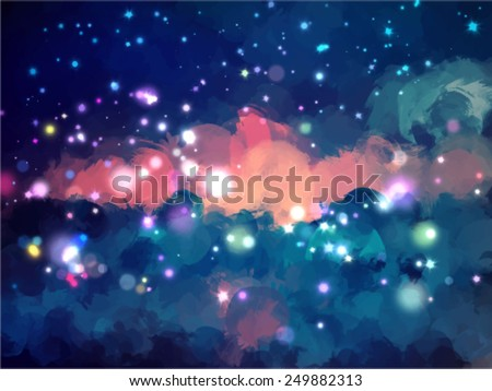 Clouds and stars brush strokes background. Vector version - stock vector