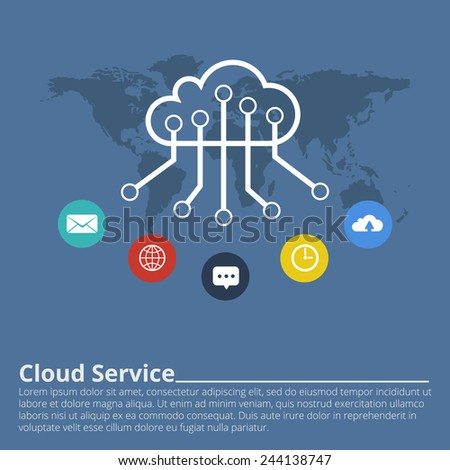 Clouds for social networks. Cloud computing concept. Vector illustration. - stock vector