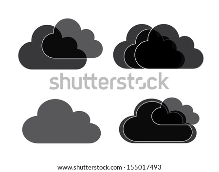 clouds icons over white background vector illustration   - stock vector