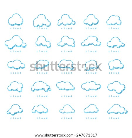 Clouds Icons Set - Isolated On White Background - Vector Illustration, Graphic Design, Editable For Your Design      - stock vector