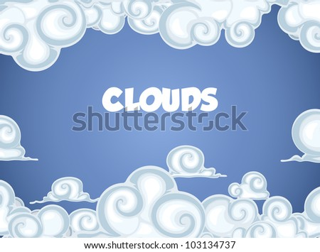 Clouds in blue sky. Frame for text - stock vector