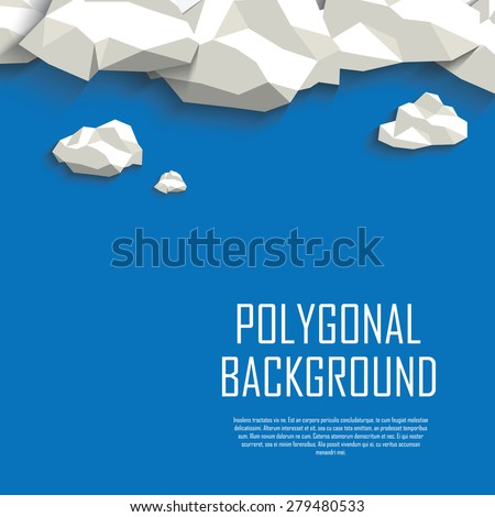 Clouds in the sky polygonal background. Low poly abstract concept with blank space for your text. Eps10 vector illustration. - stock vector