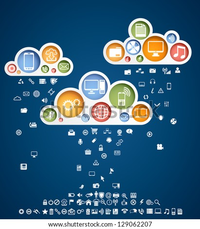 Clouds of icons, rain contains 100 different icons, EPS 10, file contains transparency - stock vector