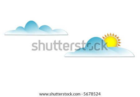 clouds, one with sun behind - stock vector