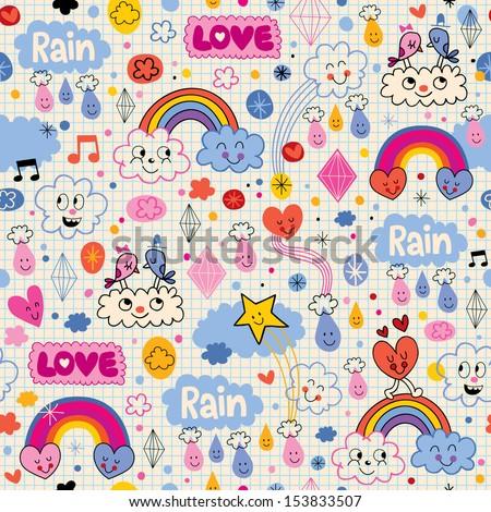 clouds rainbows birds rain love hearts pattern - stock vector