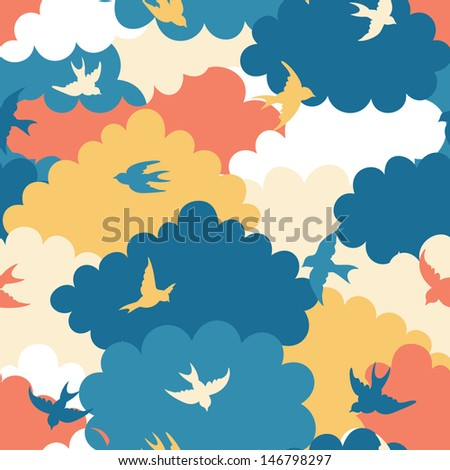Clouds seamless pattern - stock vector