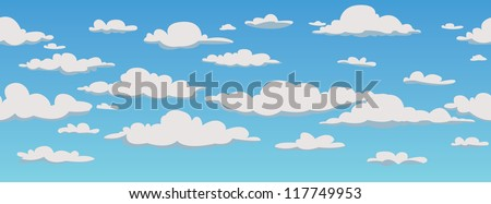Clouds, seamless pattern background, vector illustration - stock vector