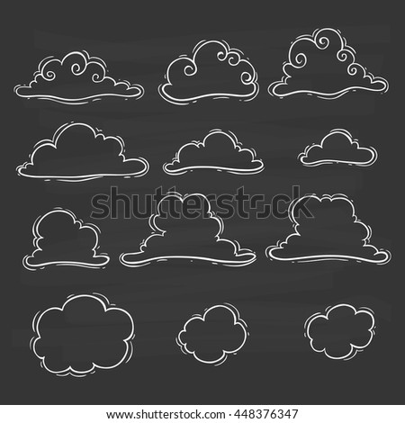 Clouds set with unique style and using doodle art on chalkboard background - stock vector