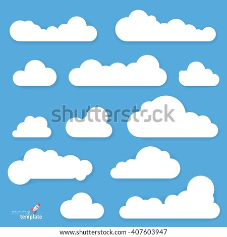 Clouds. Vector flat design elements set. - stock vector