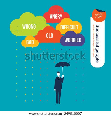 Clouds with marketing names and a businessman with an umbrella. Vector illustration Eps10 file. Global colors. Text and Texture in separate layers. - stock vector