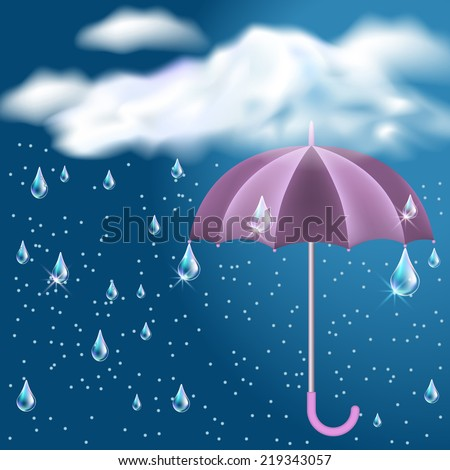 Clouds with rain in the dark blue sky and opened umbrella - stock vector
