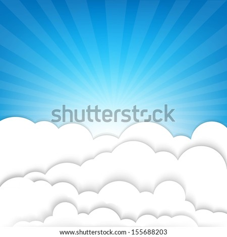 Clouds With Sky And Sunburst, With Gradient Mesh, Vector Illustration - stock vector
