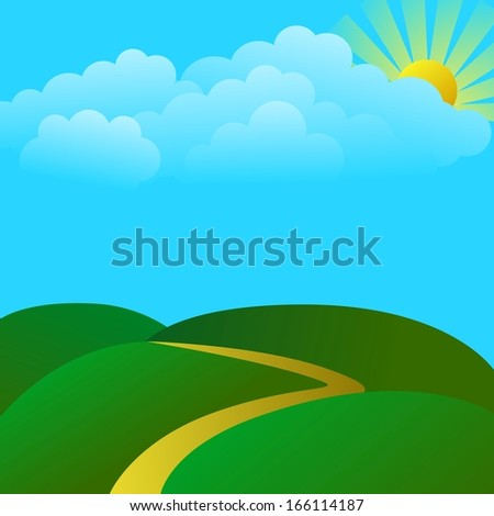 Cloudy landscape with green hill - stock vector