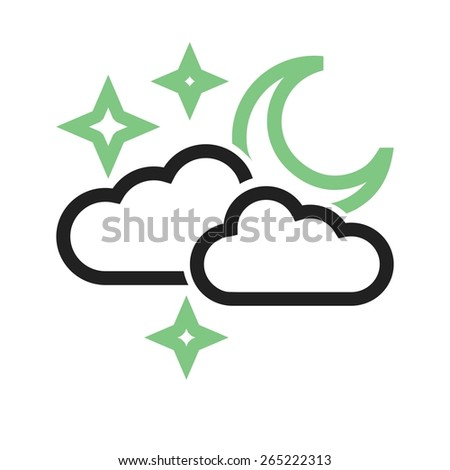 Cloudy with moon vector image to be used in web applications, mobile applications, and print media. - stock vector