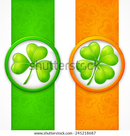Clover leaf banners in green & orange, vector illustration for St. Patrick's day  - stock vector