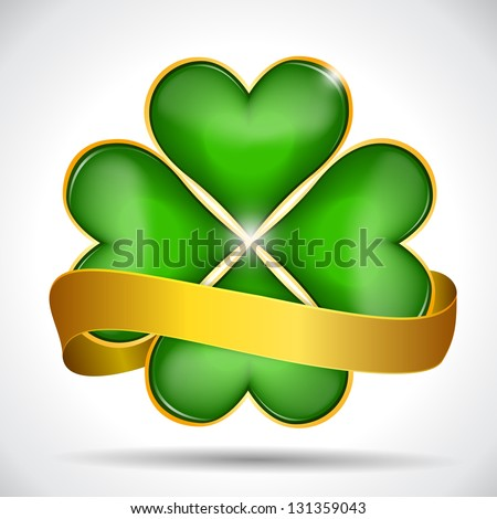 Clover leaf & gold ribbon, vector illustration for St. Patrick's day - stock vector