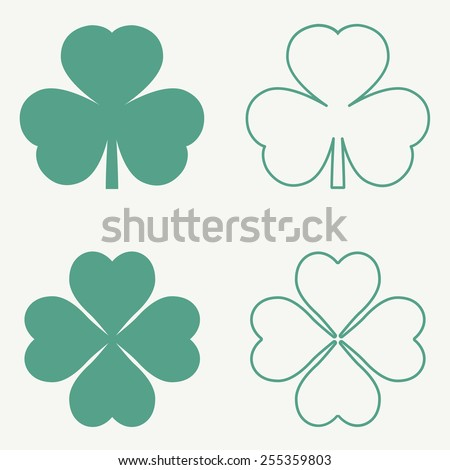 Clover leaf icons. Vector illustration, EPS 8. - stock vector