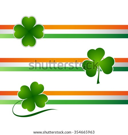 Clover leaf on flag element background for happy St. Patricks Day - stock vector