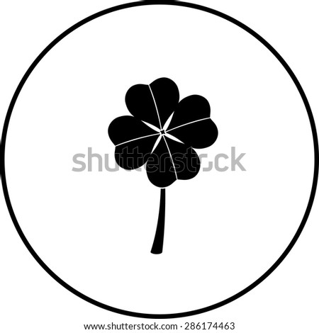 clover with four leaves symbol - stock vector