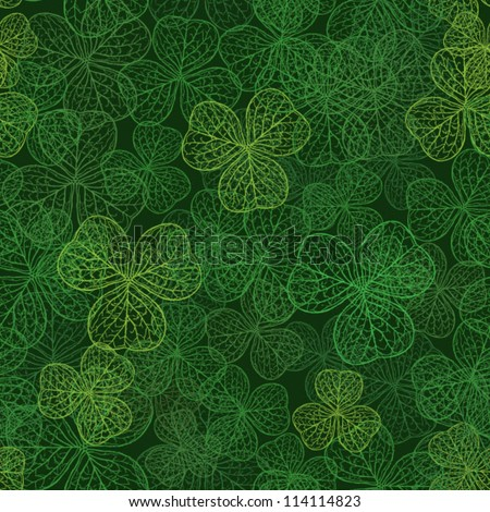 clover with three leaves pattern, dark green background - stock vector