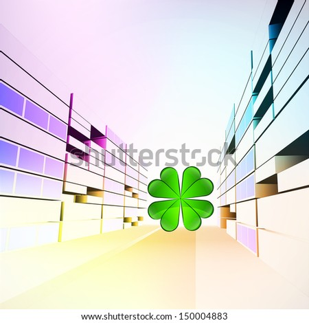 cloverleaf happiness  in colorful city street vector illustration - stock vector
