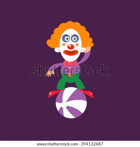 Clown Balancing On Ball Simplified Isolated Flat Vector Drawing In Cartoon Manner - stock vector