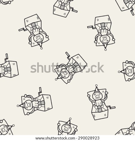 clown box doodle seamless pattern background - stock vector