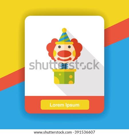 clown box flat icon - stock vector