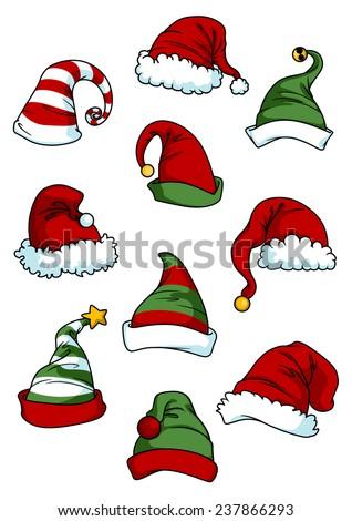 Clown, joker and Santa Claus cartoon hats set isolated on white for seasonal or comics design - stock vector