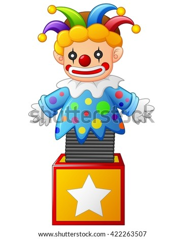 clown jumping out from a box - stock vector