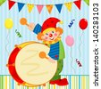 Clown playing the drum - stock vector