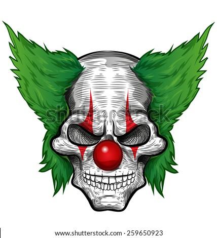 clown skull isolated on white background - stock vector