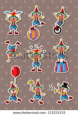 clown stickers - stock vector