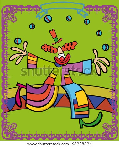 Clown with colouring clothes throws balls to the air, doing juggling - stock vector