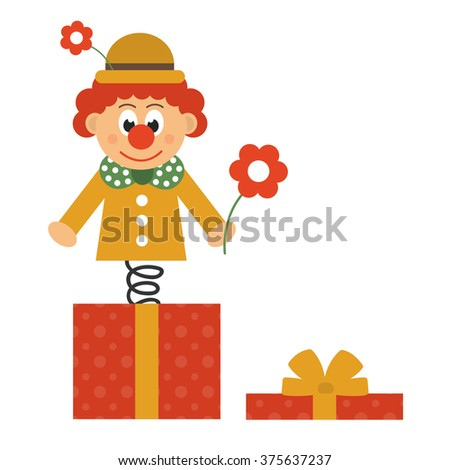 clown with flower and box - stock vector