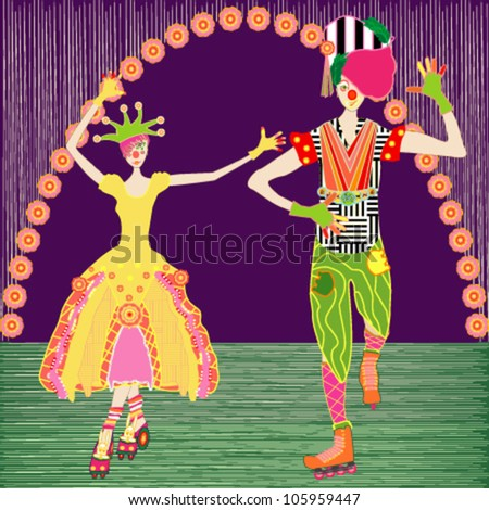 Clowns on a stage - stock vector