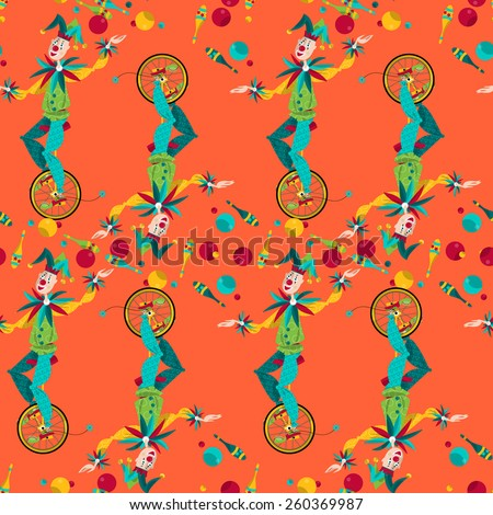 Clowns on unicycle juggling with balls and pins. Seamless background pattern. Vector illustration - stock vector