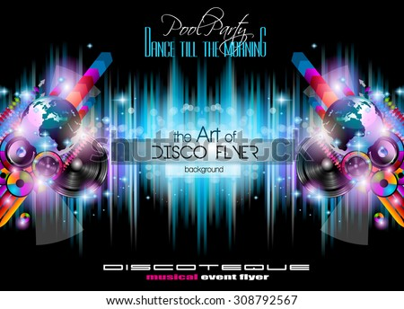 Club Disco Flyer Set with  Music themed backgrounds. A lot of diffente style flyer for your techno, hip hop, electro or metal  music event Posters and advertising printed material. - stock vector